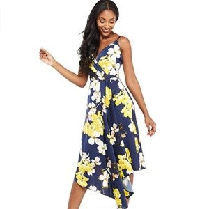 Maggie London Floral Printed Charmeuse Slip Dress
